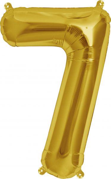 Luftballon Zahl 7 Gold 40cm