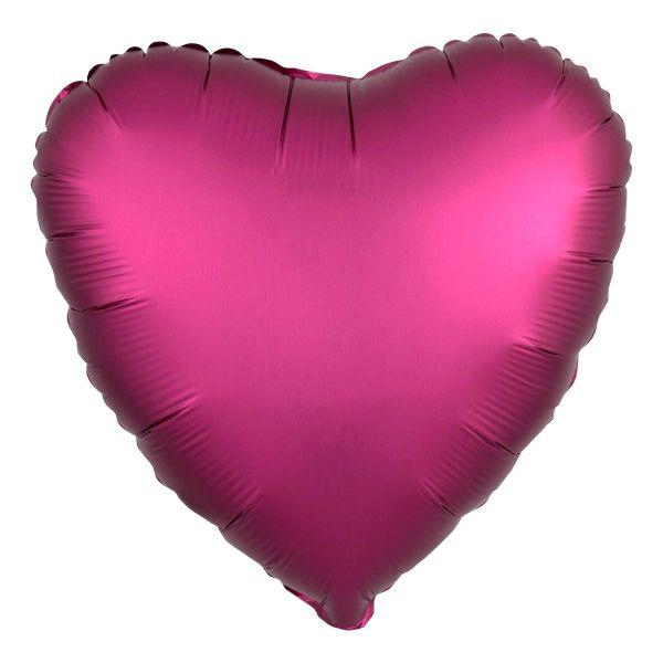 Folienballon Herz Satin Granatapfel Pink 45cm