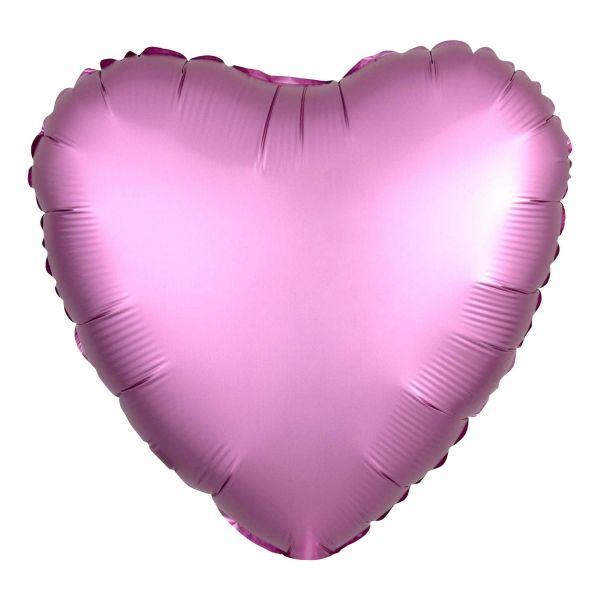 Folienballon Herz Satin Flamingo Rosa 45cm