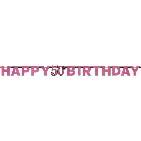 Sparkling Celebration Pink - Happy Birthday 50 Holo Girlande