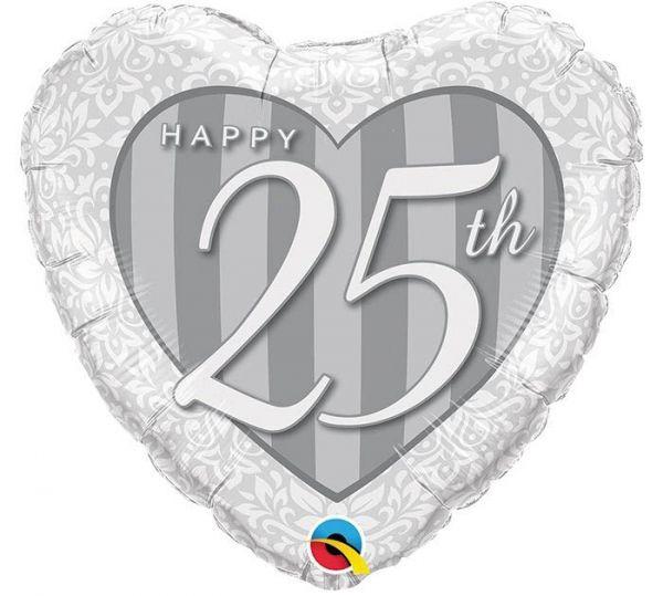 Folienballon Herz Happy 25th zur Silberhochzeit 45cm