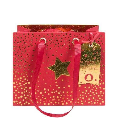 Rote Geschenktasche Merry Christmas mit goldenen Sternchen