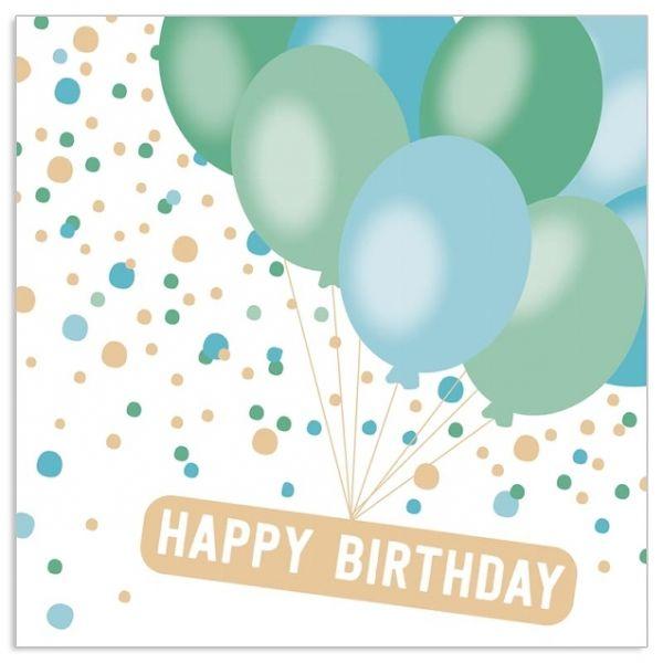 20 Geburtstags-Servietten mit Ballons Blau-Grün & Gold