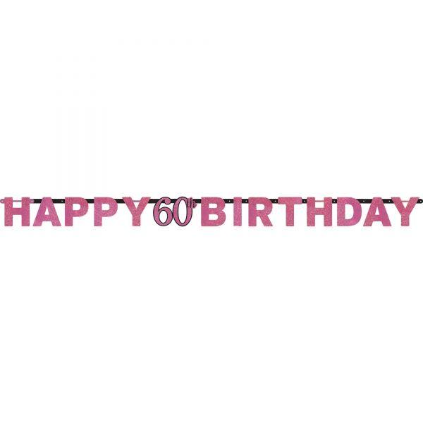 Sparkling Celebration Pink - Happy Birthday 60 Holo Girlande