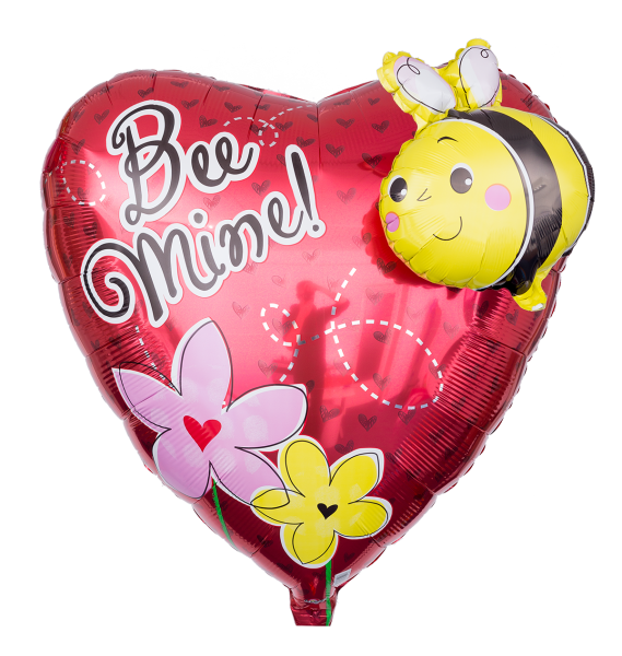 Folienballon Herz Bee Mine mit 3D Biene 81 cm