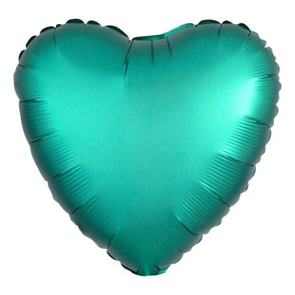 Folienballon Herz Satin Jade Grün 45cm