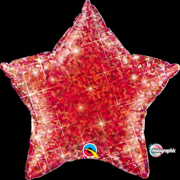 Folienballon Stern Holographic Rot 45 cm