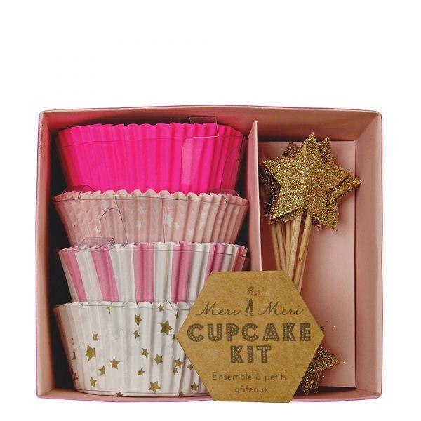 """Meri Meri - Cupcake Kit """"Sterne"""", Pink/Gold"""