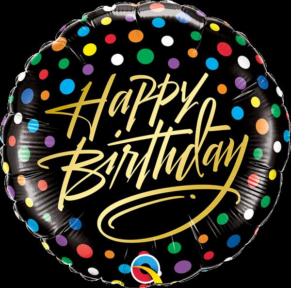 "Folienballon Gold Script ""Happy Birthday"" & Konfetti 45cm"