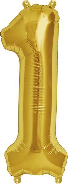 Luftballon Zahl 1 Gold 40cm