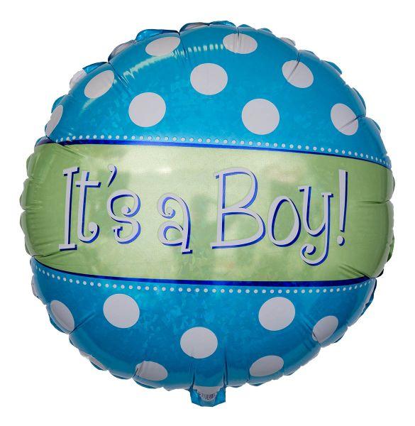 Folienballon Polka Dots It's a Boy Holographic 45 cm