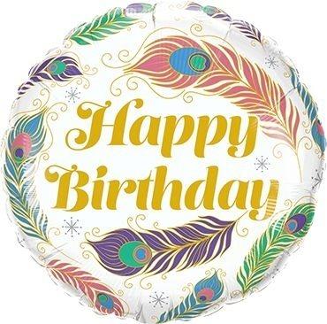"Folienballon Happy Birthday ""Pfauenfeder"" 46cm"