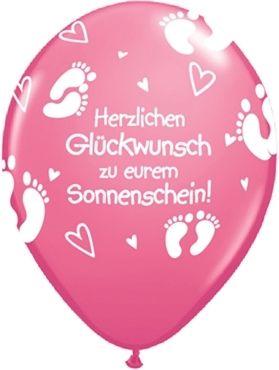 """Qualatex Latexballon """"Herzlichen Glückwunsch zu eurem Sonnenschein!"""" Rose Ø 40cm"""