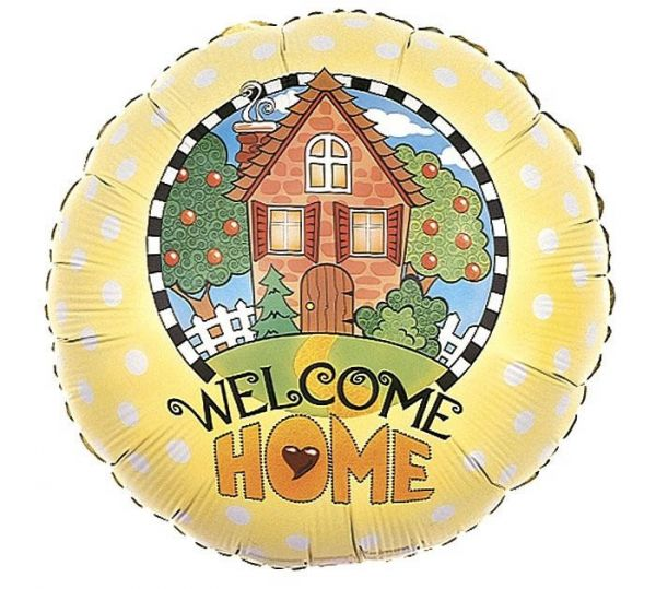 Folienballon Welcome Home Haus mit Garten 46cm