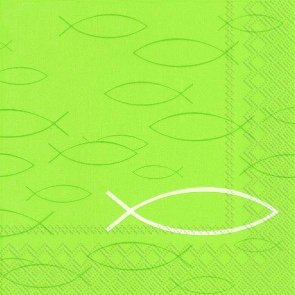 Fisch - 20 hellgrüne Kommunion & Konfirmation Servietten