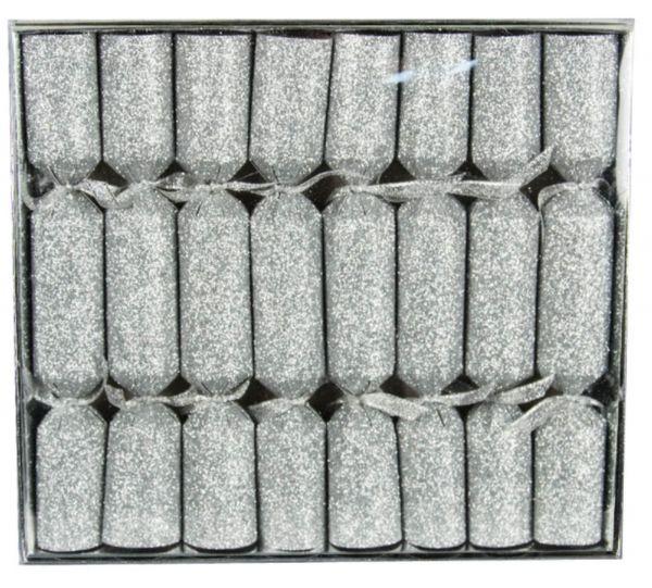 8 Knallbonbons Silber Glitter