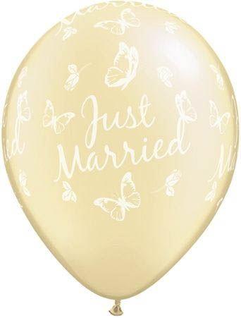 Qualatex Ballon Just Married mit Schmetterlingen Pearl Elfenbein 30cm