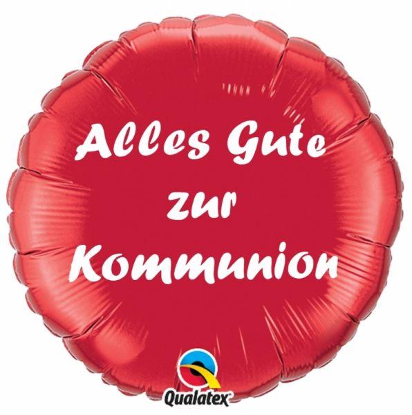 Folienballon Alles Gute zur Kommunion Rot 45cm