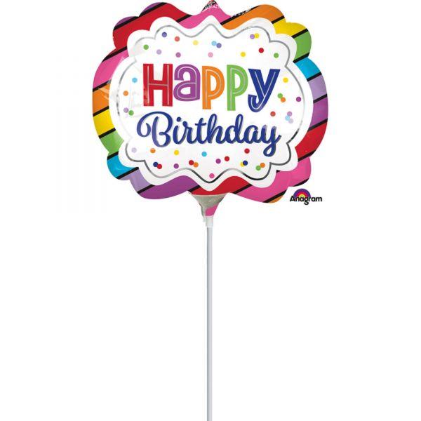 """Folienballon Minishape """"Happy Birthday"""" luftbefüllt"""