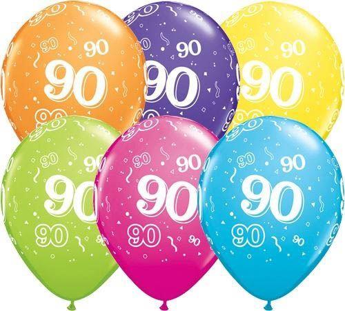 Qualatex Ballon 90. Geburtstag verschiedene Farben 30cm
