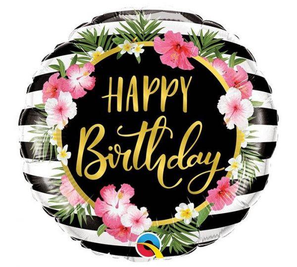 Folienballon Happy Birthday mit Hibiscus 46 cm