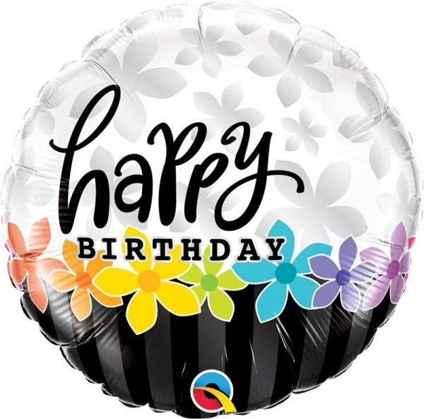 Folienballon Happy Birthday mit Blumenranke 45cm