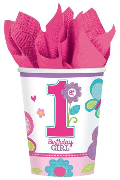 Sweet Birthday Girl - 1. Geburtstag 8 Pappbecher