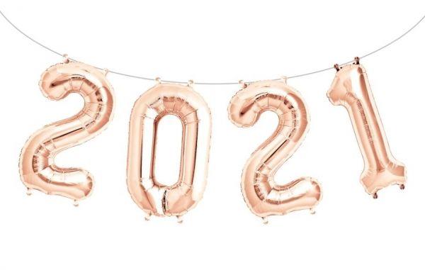 """Folienballon Girlandenset """"2021"""" Roségold"""