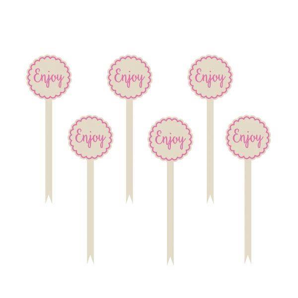 Paper Minis - 12 Holzpicker Enjoy Rosa