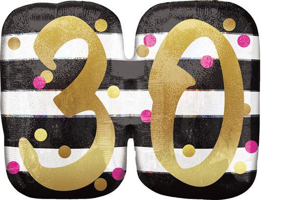 Folienballon Holographic Pink & Gold 30. Geburtstag 63x50 cm