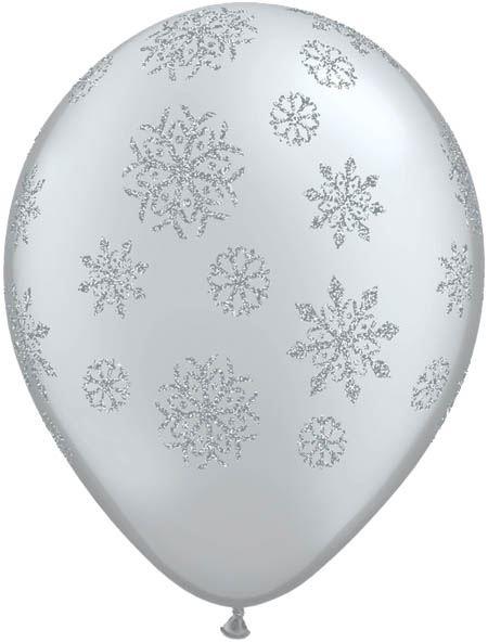 Qualatex Ballon Glitzer Schneeflocken Silber 30cm