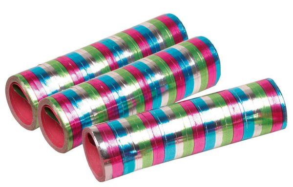 3 Metallic Luftschlangen 3-farbig