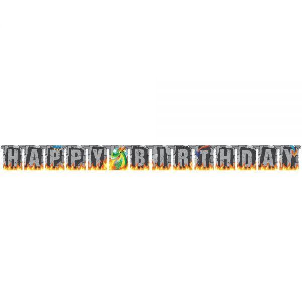 Drachen Party - Happy Birthday Girlande