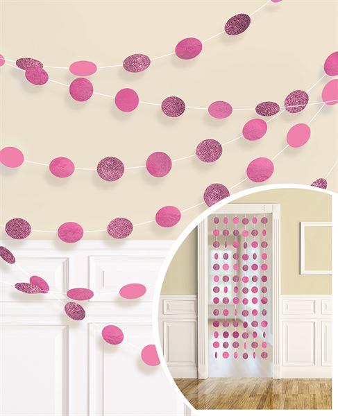 Pink - 6 Glitzer Konfetti-Girlanden