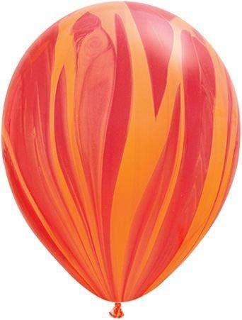 Qualatex Ballon Marmoriert Rot & Orange 30cm