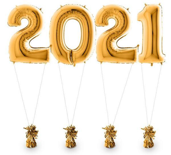 Zahlenballons 2021 Gold inkl. Helium & Gewichten 100 cm