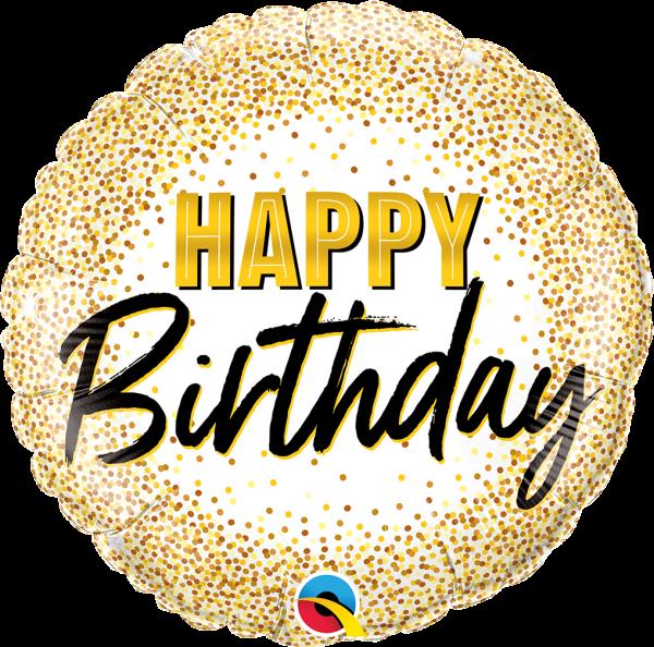 "Geburtstagsballon ""Happy Birthday"" Gold Konfetti 45cm"