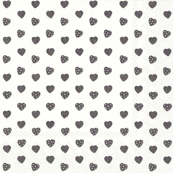 Sweetheart - 20 schwarze Herzchen-Servietten