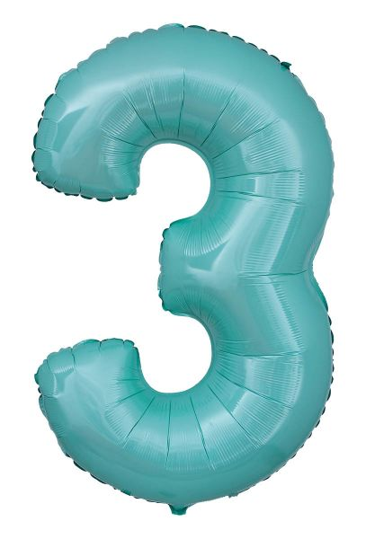 Folienballon Zahl 3 Pastell Türkis 100cm