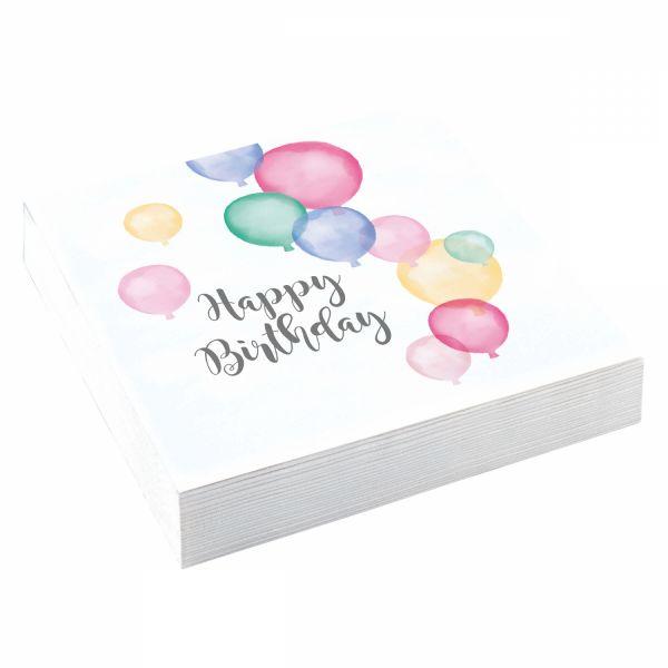 Happy Birthday Pastell - 20 Servietten