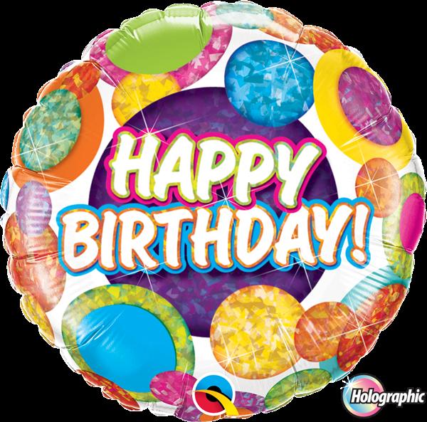 """Folienballon Holo """"Happy Birthday"""" Dots & Glitz 45cm"""