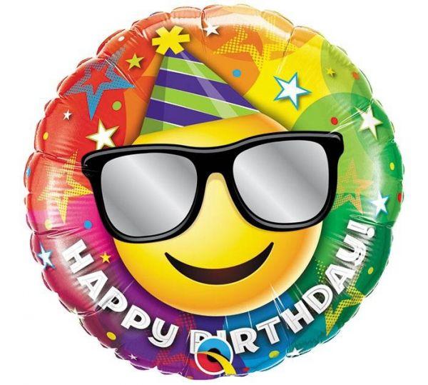 Folienballon Happy Birthday Smiley mit Brille 45cm