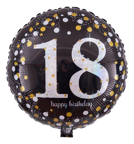Folienballon Sparkling Birthday 18. Geburtstag Holographic 43cm