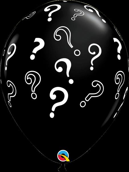 Qualatex Latexballon Gender Reveal Schwarz mit Fragezeichen (Question Marks) Ø 40cm