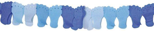 Papiergirlande Babyfuß Blau