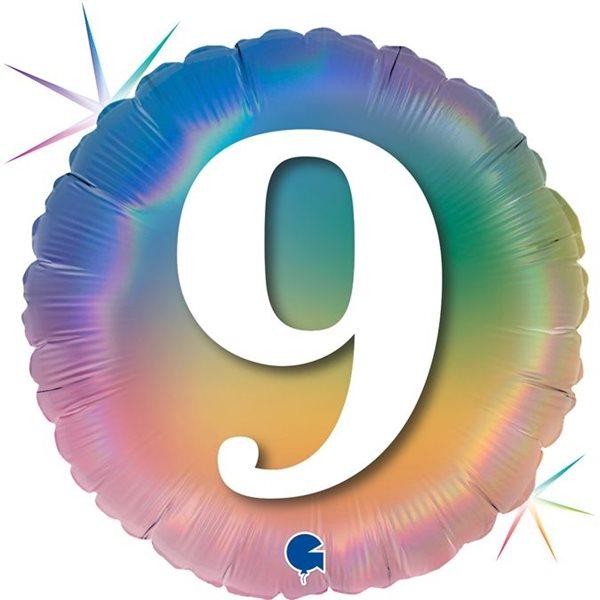 "Folienballon Regenbogen ""9"" 46cm"