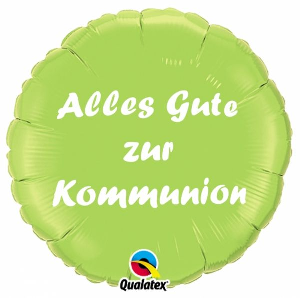 Folienballon Alles Gute zur Kommunion Hellgrün 45cm