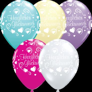 Qualatex Latexballon Herzlichen Glückwunsch verschiedene Farben Ø 40cm