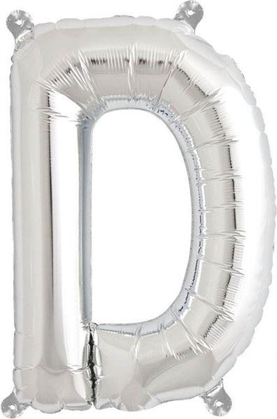 Luftballon Buchstabe D Silber 40 cm