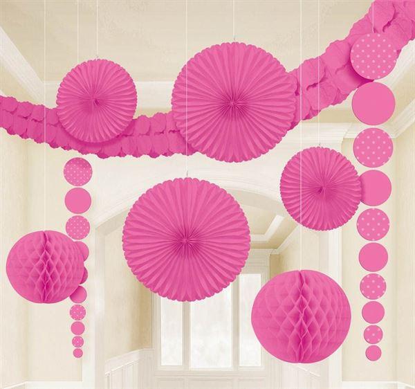 Rosa - Damast Dekorations-Set 9 tlg.